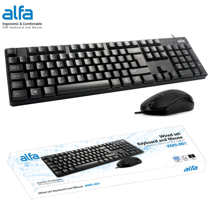 KEYBOARD-MOUSE ALFA WIRED USB BLACK EN-GR NEW